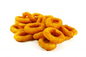 6078958 - fast food popular side dish of onion rings on white background